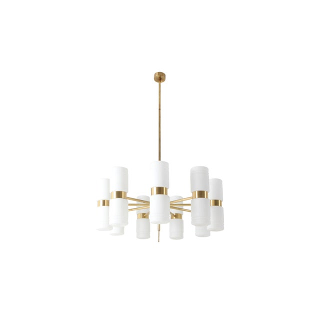 Hans-Agne Jakobsson Brass and Milky Opaline Glass Chandelier For Sale - Image 10 of 10