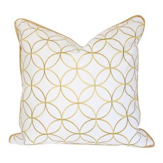 "Sungold Lattice Pillow Cover 20"" Sq For Sale"