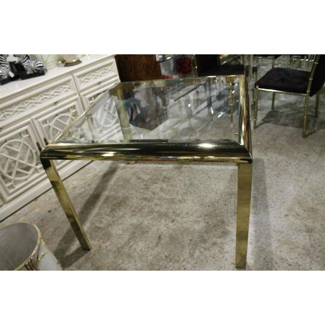 DIA - Design Institute America Vintage Brass Dining Table Game Table For Sale - Image 4 of 10