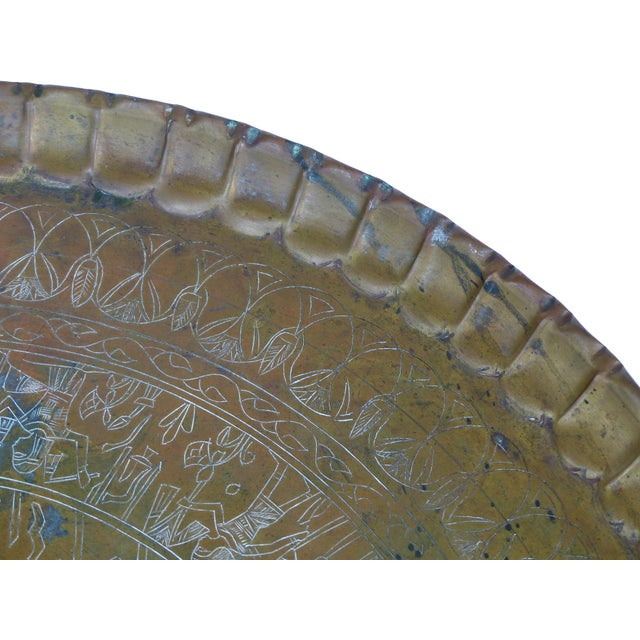 20th Century Moroccan Brass Table Tray on Stand For Sale - Image 9 of 12