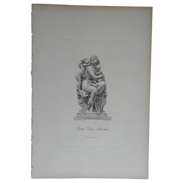 Antique Engraving Mother & Children Folio Size For Sale