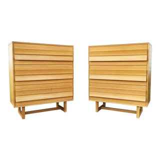 Paul Laszlo for Brown Saltman Mid-Century Six Drawer Tall-Boy Dressers - a Pair