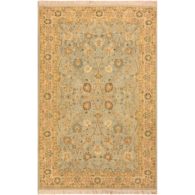 Sky Blue Shabby Chic Istanbul Archie Blue/Ivory Turkish Hand-Knotted Rug -3'1 X 5'0 For Sale - Image 8 of 8