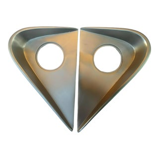 Retro Mid-Century Pair of Satin Chrome Door Plates For Sale