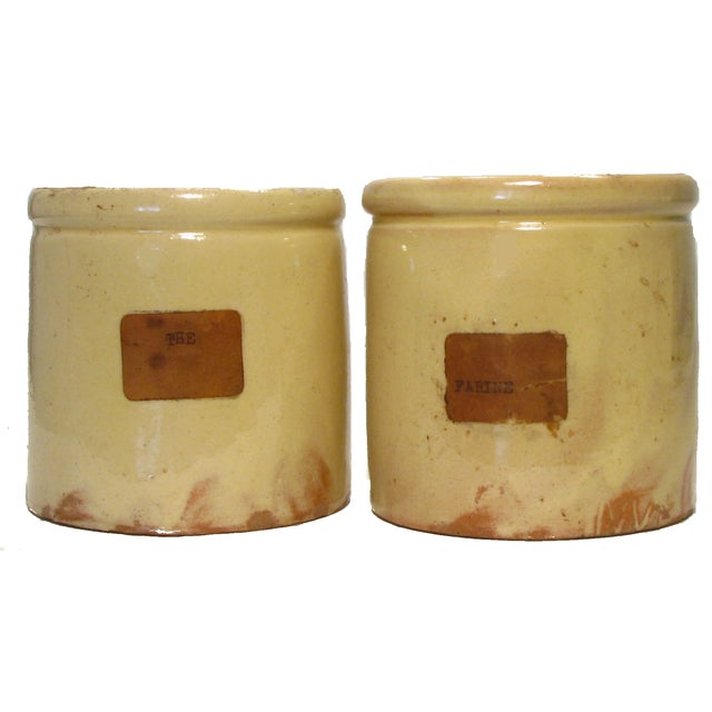French Yellow Glazed Confiture Pots - A Pair - Image 1 of 4