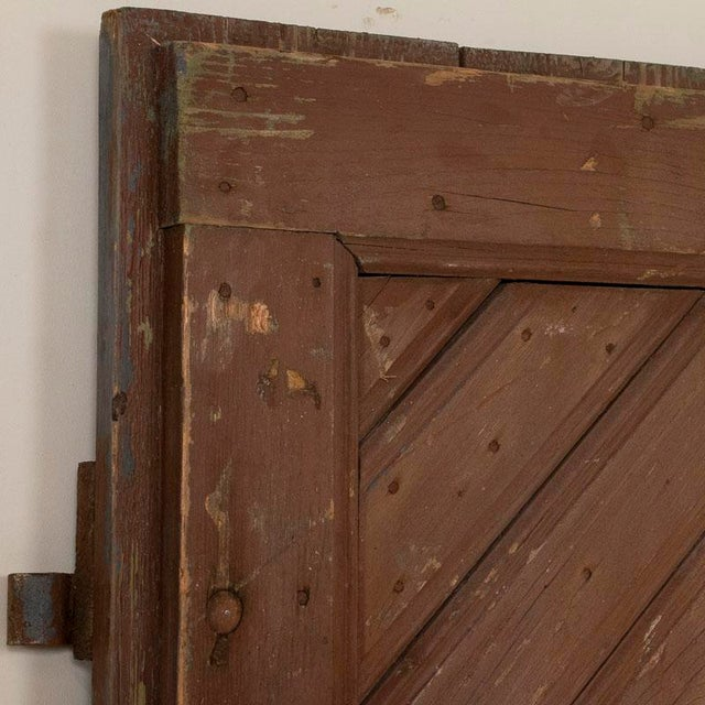 Antique Original Brown Painted Barn Doors - a Pair For Sale - Image 6 of 9