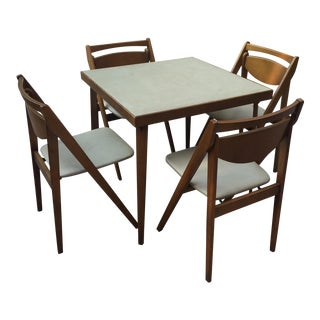 Mid -Century Modern Stakmore Folding Bentwood Table & Chairs- Set of 5 For Sale
