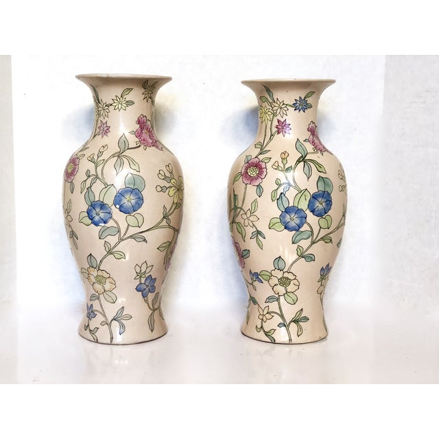 1980s Chinoiserie Porcelain Floral Vases - a Pair For Sale - Image 6 of 6