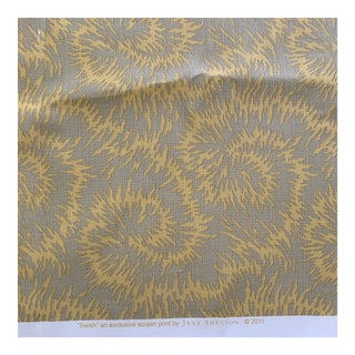 Jane Shelton Swish Tan and Golden Yellow Hand Printed Linen Fabric- 2 Yards For Sale