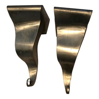 Vintage Metal Wall Brackets by Michael Aram - a Pair For Sale