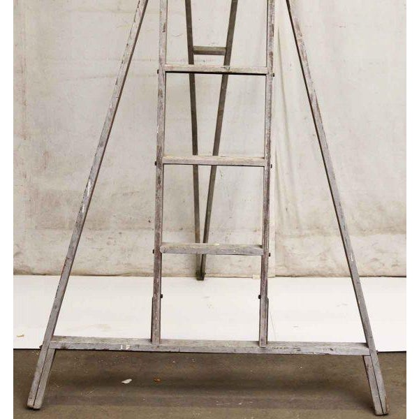 Rustic Painted Splattered Apple Ladder For Sale - Image 3 of 8
