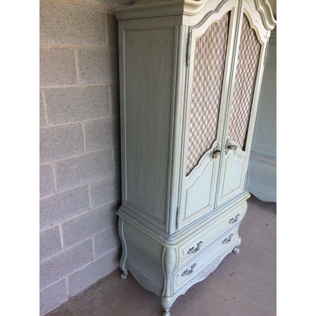 Oak Hickory White French Provincial Armoire For Sale - Image 7 of 11