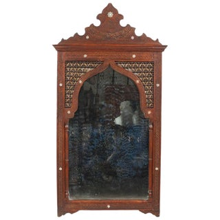 Large Arched Middle Eastern Mirror Inlaid With Mother-Of-Pearl For Sale