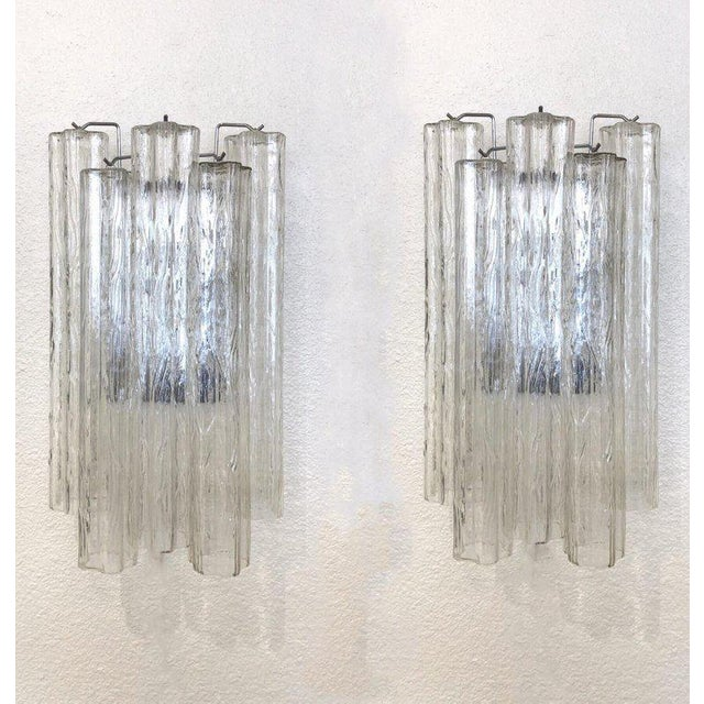 "Venini Pair of Large Italian Murano Glass ""Tronchi"" Wall Sconces by Venini For Sale - Image 4 of 7"