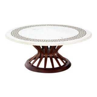 Mid-Century Modern Oiled Walnut Base and Marble-Top Coffee Table For Sale