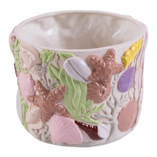 Shell-Embossed Round Ceramic Planter For Sale