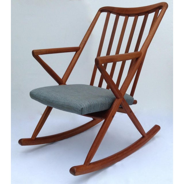 Vintage; circa, 1958, Mid-Century, Danish teak rocking chair, by the great Dutch Designer, Benny A. Linden for the the...