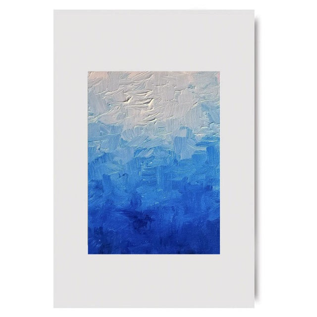Modern Blue Impasto Textured Oil Painting - Image 5 of 5
