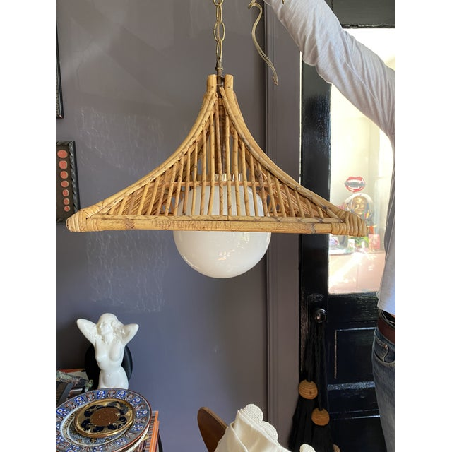 Wood 1960s Vintage Bamboo & Milk Glass Pagoda Chandelier For Sale - Image 7 of 7