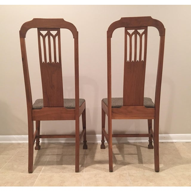 Mission Arts & Crafts Craftsman Wood Chairs With Canvas Seats - Set of 2 For Sale In Chicago - Image 6 of 11