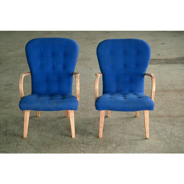 Pair of 1950s Danish Lounge Chairs in the Style of the Clam Chair by Arctander For Sale In New York - Image 6 of 11