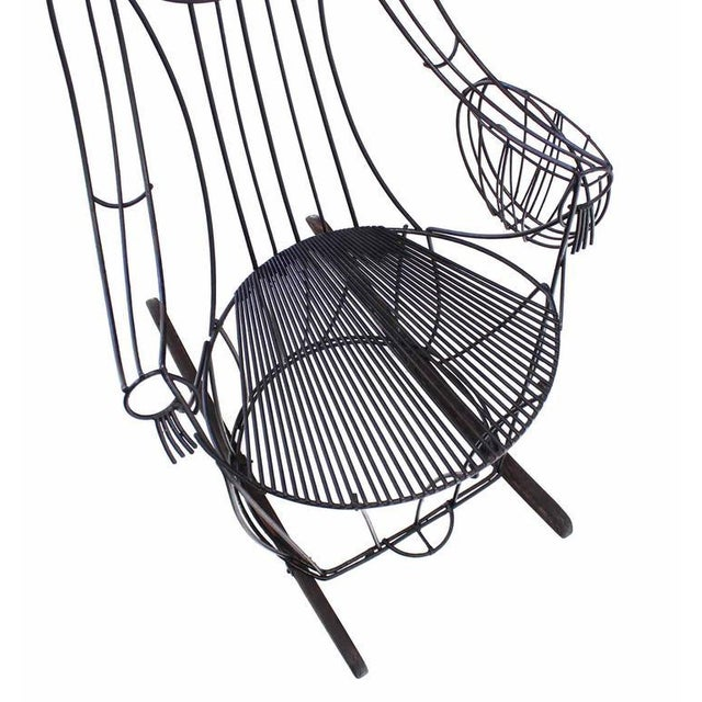 Mid-Century Modern John Risley Welded Wire Rocking Chair For Sale - Image 3 of 10