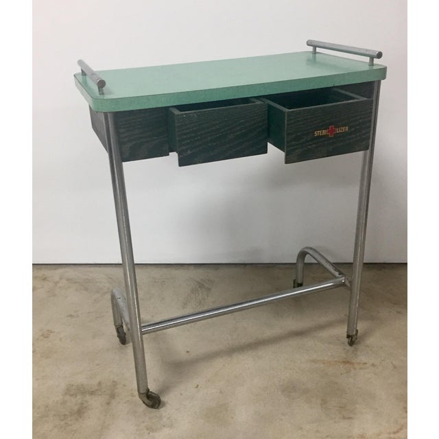 1940s 1940s Industrial Tubular Steel Rolling Stool and Cantilevered Table For Sale - Image 5 of 7