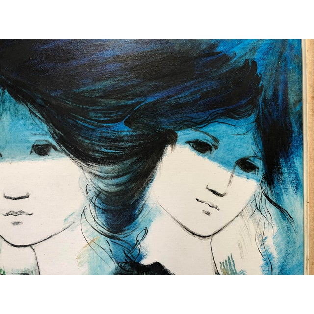 1970s Vintage Kevin McAlpin Ladies in Blue Oil Painting For Sale - Image 4 of 8