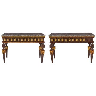 Pair of Empire Style Parcel-Gilt Metal Console Tables For Sale