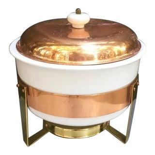 1960s Mid-Century Metalutil Copper/Ceramic Warming Serving Set For Sale