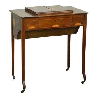 Antique Mahogany Marquetry Inlaid Edwardian Era Dressing Table Vanity