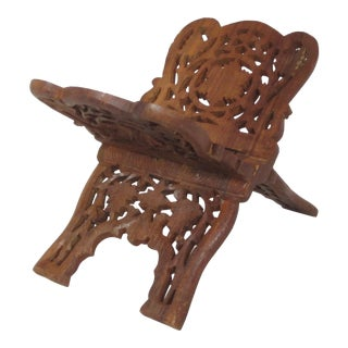 1980s Hand Carved Book Stand For Sale