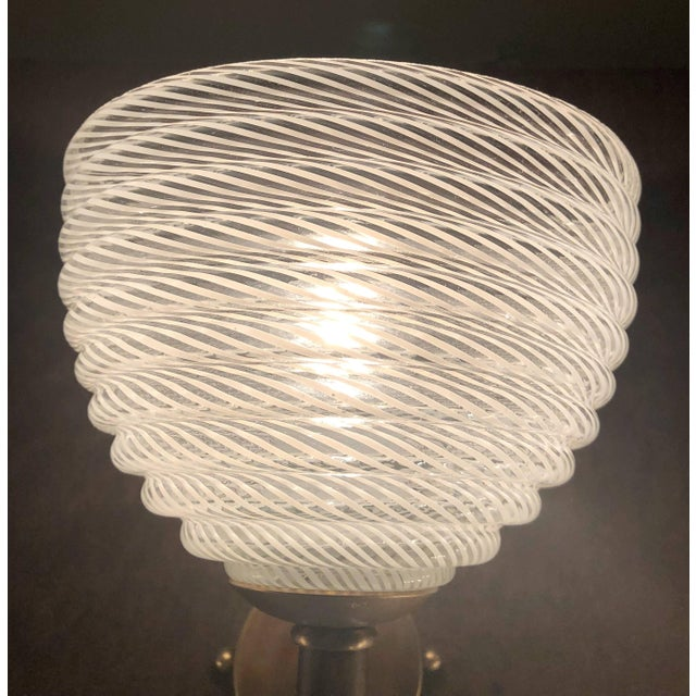 White Vintage Barovier E Toso Ribbed Murano Glass Sconces - a Pair For Sale - Image 8 of 10