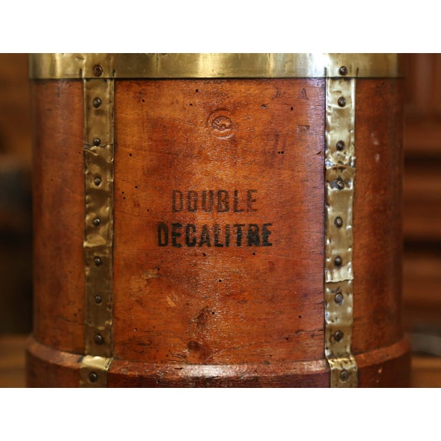 Country 19th Century French Walnut, Brass and Iron Grain Measure Bucket or Waste Basket For Sale - Image 3 of 9