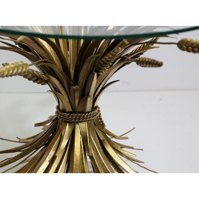 1950s Vintage French Metal Sheaf of Wheat Side Table with Glass Top For Sale - Image 5 of 10