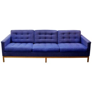Mid-Century Modern Florence Knoll Three-Seat Lounge Sofa Model 1205 Wood Frame