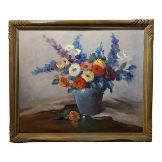 1920s Nell Walker Warner Floral Still Life Oil Painting For Sale