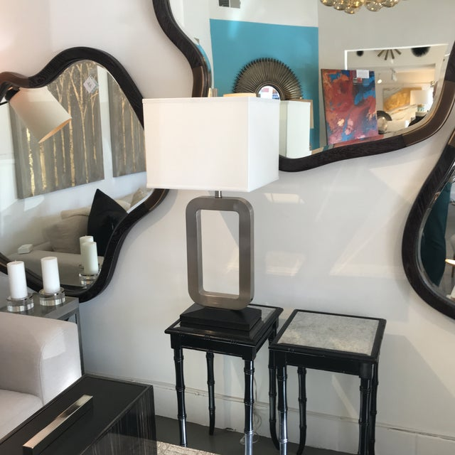 Modern Nickel & Black Table Lamp For Sale In Palm Springs - Image 6 of 7