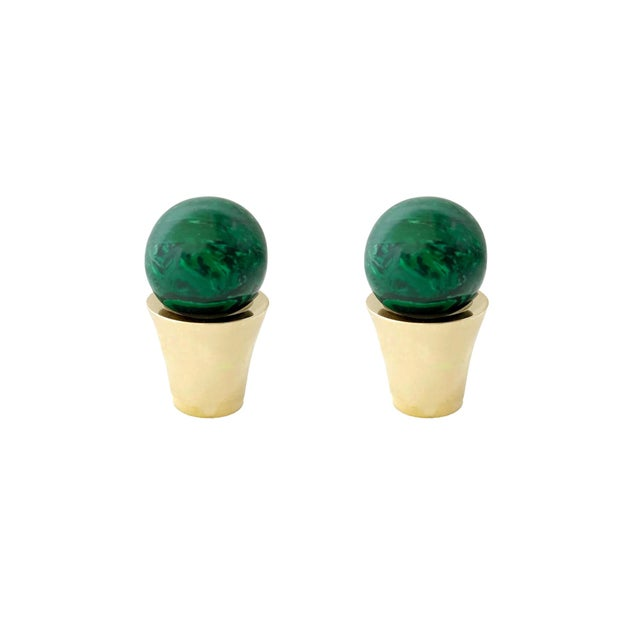 Not Yet Made - Made To Order Addison Weeks Tanner Knob, Brass & Malachite - a Pair For Sale - Image 5 of 5