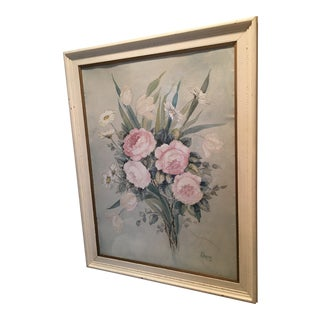 1940s Floral Still Life Watercolor Painting by J. Chapman, Framed For Sale