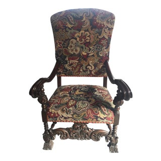 Antique French Louis Style Throne Chair For Sale
