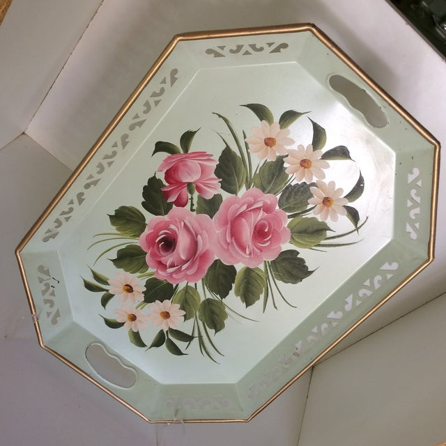 Hand Decorated Light Green Metal Tole Tray With Pink Roses by Pilgram Art For Sale - Image 12 of 13