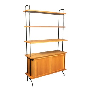 1950s Mid-Century Modern Blackened Steel and Birch Standing Shelf For Sale