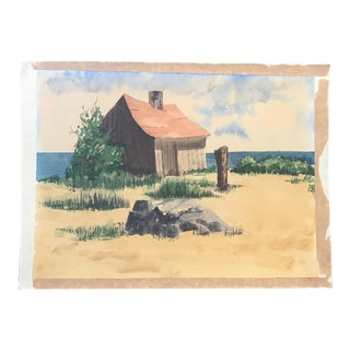 Vintage Beach House Watercolor Painting For Sale
