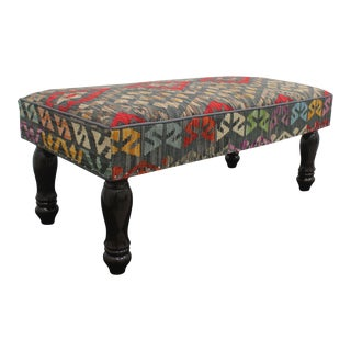 Boho Chic Ernie Charcoal Red Kilim Upholstered Bench For Sale