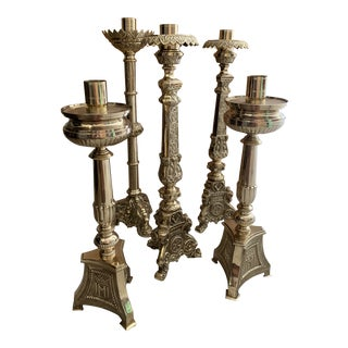 Solid Brass Candlestick Holders - Set of 5 For Sale