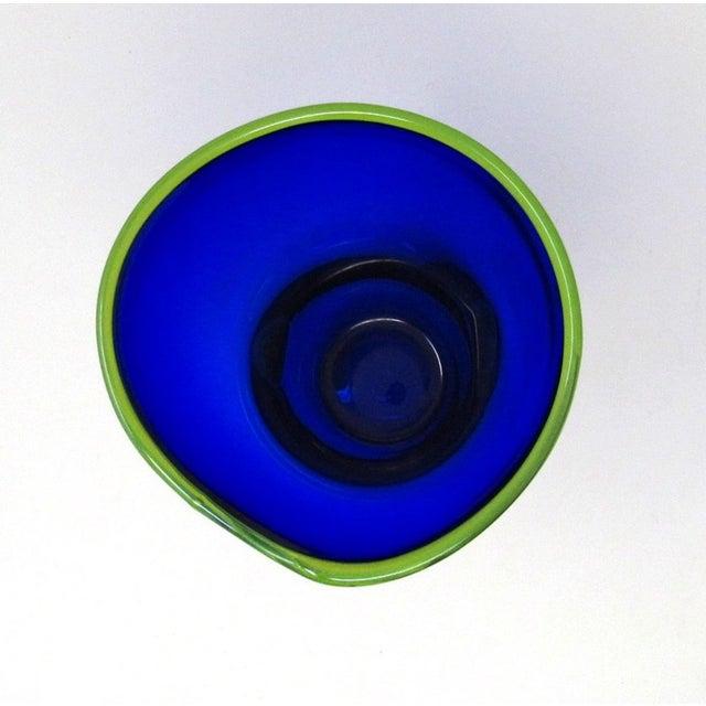 Glass Hand Blown Freeform Cobalt Art Glass Vase For Sale - Image 7 of 11