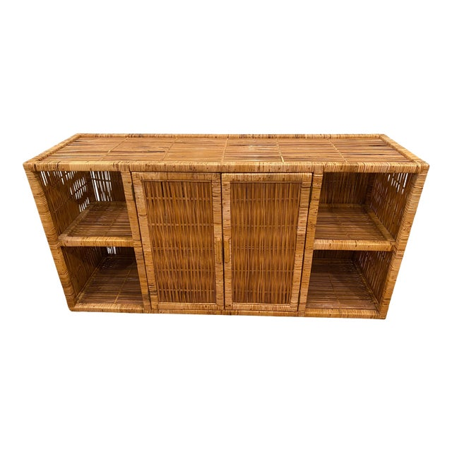 Vintage Palm Beach Boho Chic Wicker Rattan Shelving Unit For Sale