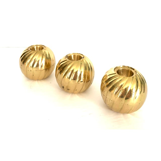 Metal 1970s Modern Brass Candle Holder - Set of 3 For Sale - Image 7 of 9