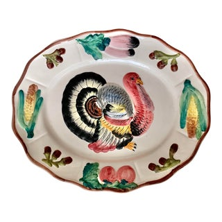 Italian Vintage Hand Painted Turkey Platter For Sale